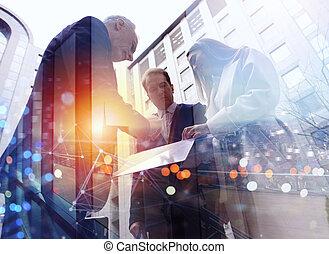 一起。, 合作, 事務, 配合, 概念, 工作, 人們