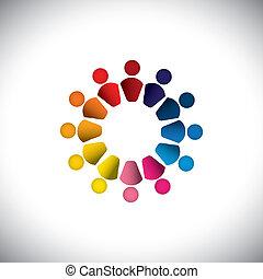 一起, 或者, 鮮艷, 玩, 也, 圖表, 人們, 矢量, 孩子, graphic., 罐頭, 代表, circle-, 友誼, play-school, 隊, 孩子, 圖象, 建築物, 這, 摘要, 活動, 組, 概念, 等等