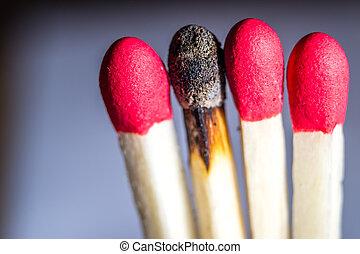 一, 燒, matchsticks, 在外