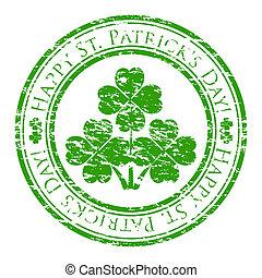 三葉草, 裡面, grunge, 郵票, 正文, 街, 被隔离, patrick's, 橡膠, stamp), 寫, 矢量, (happy, 背景, 說明者, 白色, 天, four-leaves