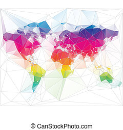 三角形, 世界, 設計, 上色, 地圖