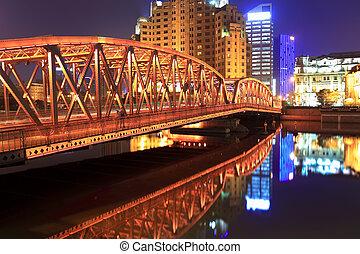 上海, 夜晚, 花園, 橋梁