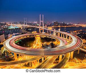 上海, 夜晚, nanpu, 橋梁