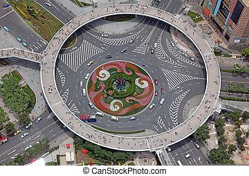上海, 看法, 空中, 瓷器, 十字路口