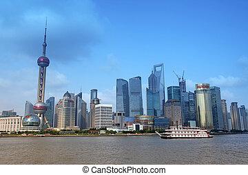 上海, juney, bund, 十, 吸引, 頂部, 15:, 上海, 浦東, 一, -, 地平線, 瓷器, 看法, 六月, 15, 2012