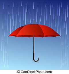下降, 傘, 紅色, 雨