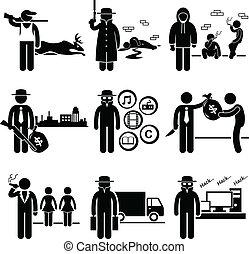 不合法, 活動, 工作, 罪行