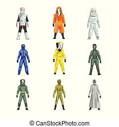 不同, 保護, 集合, 工人, 人, 插圖, 衣服, 矢量, 專業人員, 制服