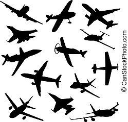 不同, 大, 彙整, 矢量, silhouettes., 飛機