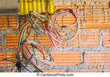 不同, 安裝, 上色, 力量, 站點, 建設, 出口, 電纜