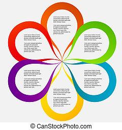 不同, 概念, 形式, 鮮艷, 描述商業, 矢量, 花, 旗幟, 圓, design.