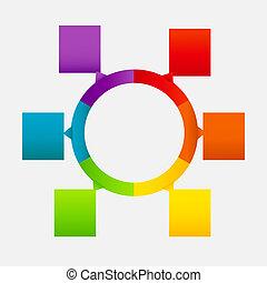 不同, 概念, 鮮艷, 事務, 箭, 插圖, 矢量, 旗幟, 圓, design.