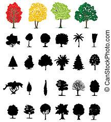 不同, colour., 插圖, one-ton, 矢量, 樹