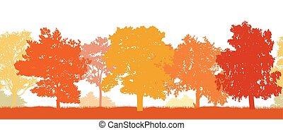 不同, illustration., autumn., pattern., seamless, 樹, 黑色半面畫像, 矢量