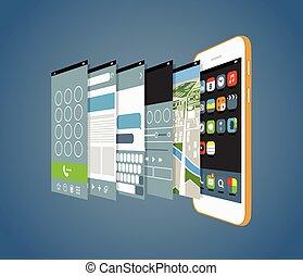 不同, smartphone, 現代, ele, 應用, screens., 設計