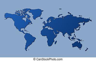 世界, 剪, 地圖, 路徑