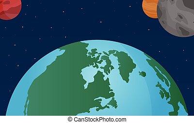 世界, 矢量, 插圖空間