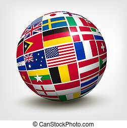 世界, 矢量, 旗, globe., illustration.