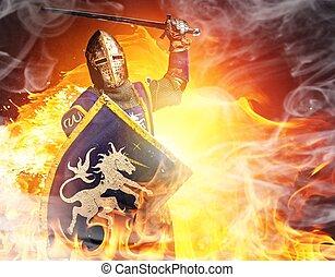 中世紀, 火, 騎士, 背景。, 攻擊, 位置