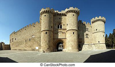 中世紀, (palace), rhodes, 全景, 希臘, 看法, 騎士, 城堡