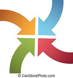 中心, 點, 顏色, 曲線, 箭, 會聚, 四