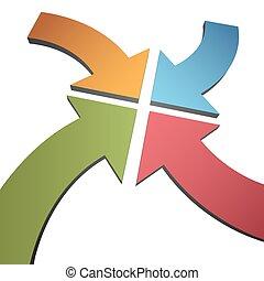 中心, 點, 顏色, 曲線, 箭, 會聚, 四, 3d