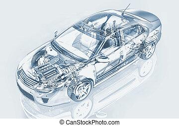 中立, 剪, cutaway, 影響, 詳細, 圖畫, 路徑, 鉛筆, 轎車, backgound., included., 汽車, 表示法, 一般, 鬼, 風格