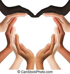 中間, 手, 心, 多種族, 做, 形狀, 空間, 背景, 模仿, 人類, 白色
