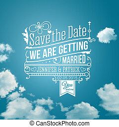 之外, holiday., image., 婚禮, invitation., 矢量, 個人, 日期