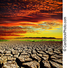 乾燥, 在上方, 戲劇性, 傍晚, 地球, 被爆裂, 紅色