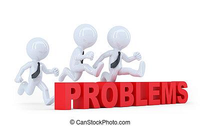 事務, 在上方, problems., 被隔离, 跳躍, 障礙, 障礙, 隊