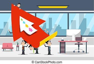事務, 成功, 大, concept., arrow., 矢量, 商人, design., 辦公室, 紅色, 房間