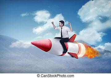 事務, 火箭, 騎, 飛行, asian人