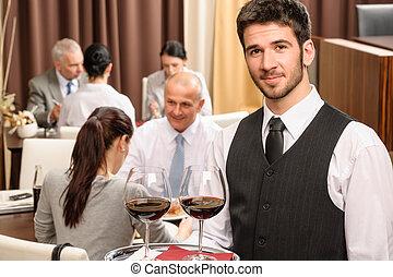 事務, 餐館, 侍者, 眼鏡, 午餐, 握住, 酒