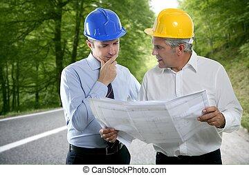 二, 建筑師計划, hardhat, 專門技能, 工程師, 路, 森林