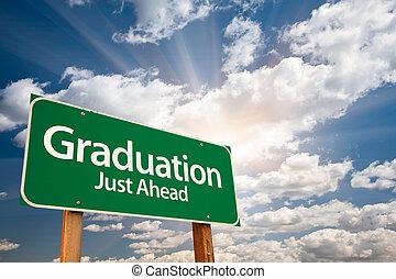 云霧, 在上方, 畢業, 簽署, 綠色, 路