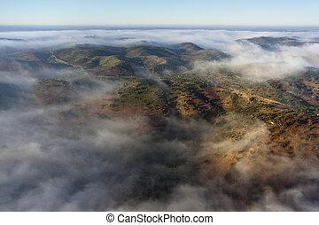 云霧, 空中, 風景, 看法