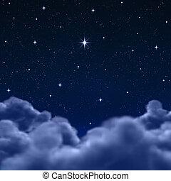 云霧, 空間, 天空, 透過, 夜晚, 或者