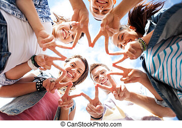 五, 顯示, 組, 青少年, 手指