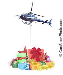 交付, 禮物, 概念, 聖誕節, 直升飛机