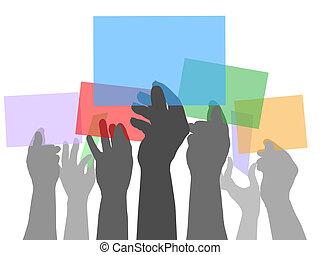人們顏色, 很多, 空間, 扣留手