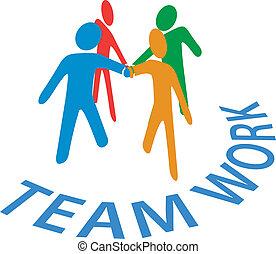 人們, 合作, 加入, 配合, 手