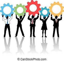 人們, 向上, 齒輪, 隊, 解決, 技術
