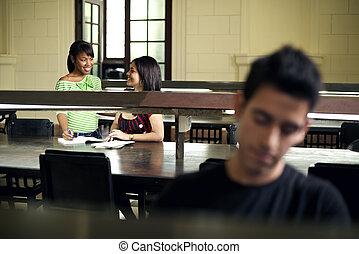 人們, 學生, 學習, 學校, 年輕, 圖書館, 學院