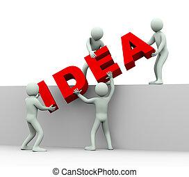 人們, -, 想法, 3d, 概念