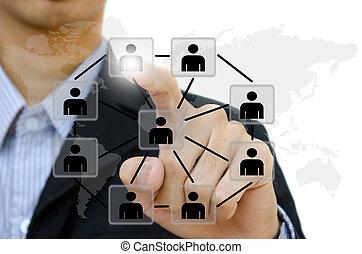 人們, 推, 社會, 网絡, 通訊, 事務, whiteboard., 年輕