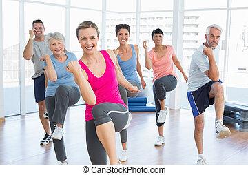 人們, 瑜伽, 力量, 練習, 微笑, 健身 組