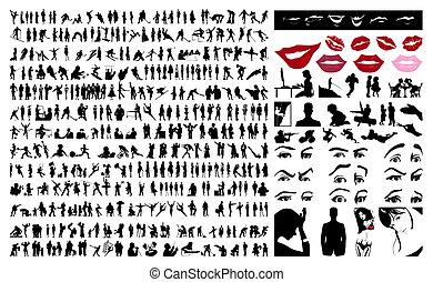 人們。, 矢量, 黑色半面畫像, 插圖, 360