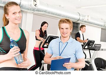 人們, 體操, 年輕, 健身指導者, 練習