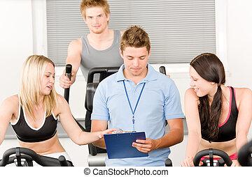 人們, 體操, 年輕, 旋轉, 健身指導者